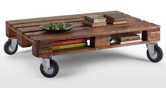 nice pallet table on wheels