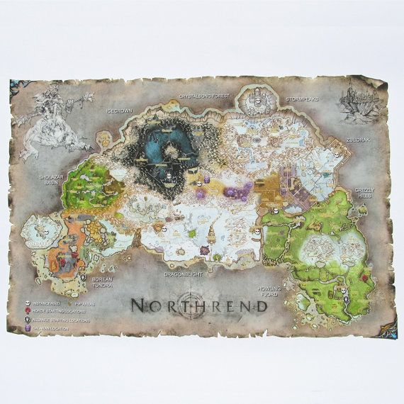 Northrend Map, World of Warcraft Map Cotton Canvas Digital Print, Northrend Print