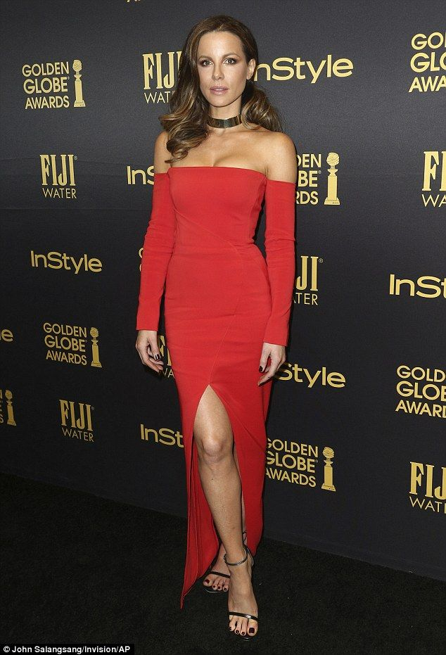 Stunner:Kate Beckinsale kept up with appearances at HFPA and InStyle celebration for the 2017 Golden Globe awards season in Los Angeles
