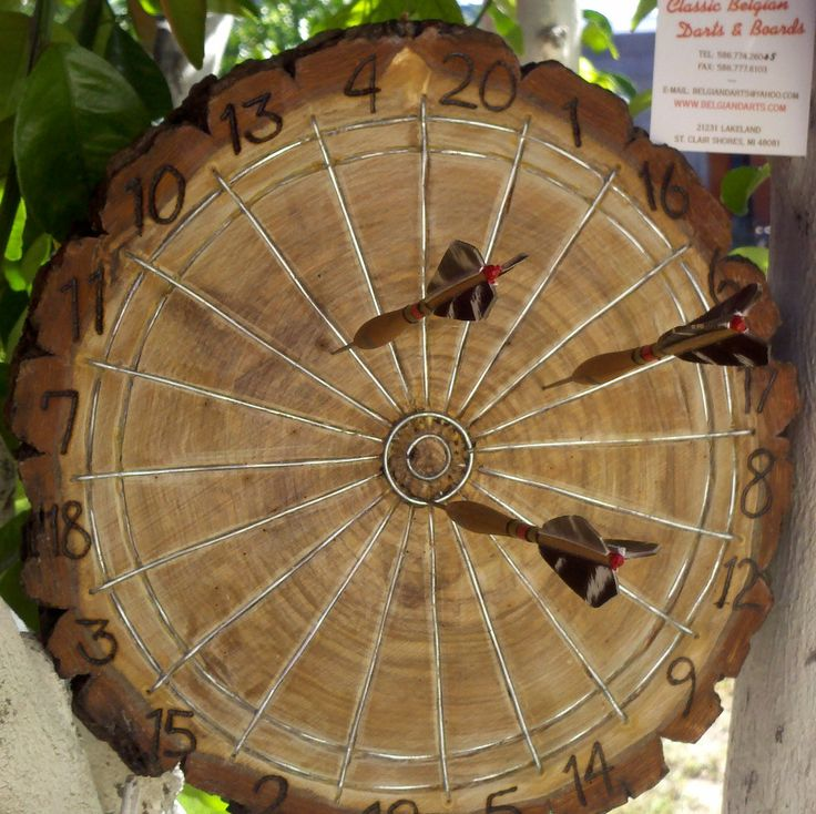 dart board made from tree round.