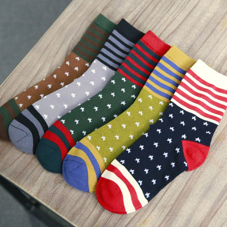 1.53usd wholesale ////Fashion Socks Men Striped Stars Print Dress Hip Hop Cotton Crew Skate Brand Happy Masculina Calcetines Cheap Sox DropShipping