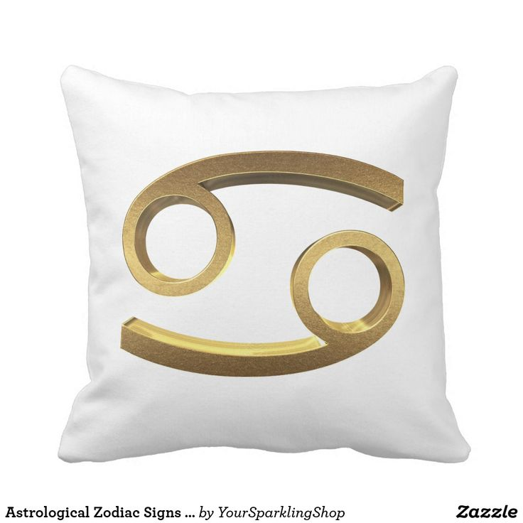 Astrological #Zodiac Signs Sun #Sign #Cancer Gold Look Symbol Throw Pillow