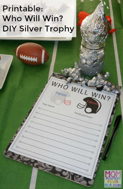 *super bowl - Grab this fun free Game Day Printable: Who Will Win? Patriots vs Falcons. Predict the final score and you could win a DIY Silver Trophy.