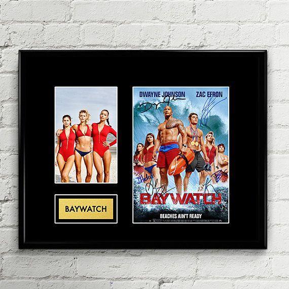 Baywatch 2017 - Cast Autograph Signed Poster Art Print Artwork - Dwayne Johnson, Zac Efron, Alexandra Daddario, Kelly Rohrbach, Ilfenesh