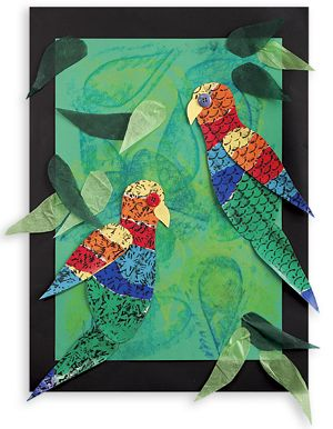Teach art and nature with Australian Lorikeets made with vibrant colours from students.