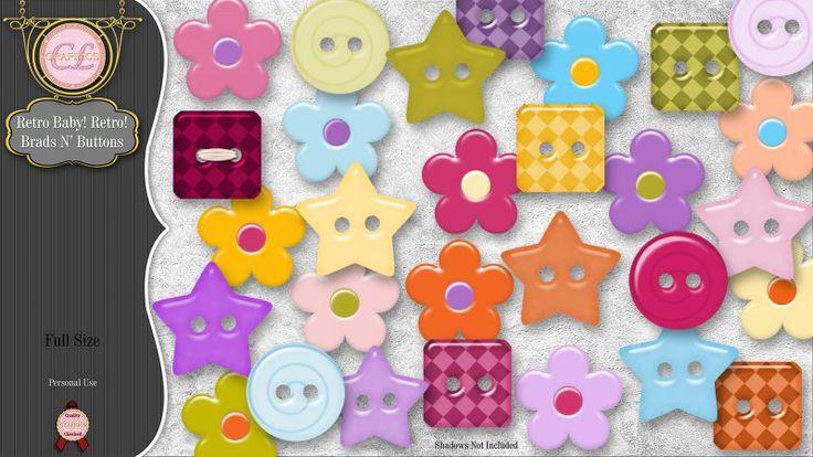 CLGraphics Retro Baby! Retro! Brads n' Buttons