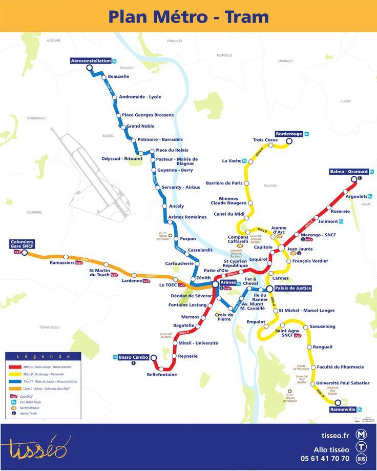 Mappa di Metropolitana di Tolosa, Francia La metropolitana serve Tolosa e le città vicine. Tolosa è una città nel sud della Francia, con 750.000 abitanti. La rete del metrò è formata da due linee le cui circolano sotterraneamente quasi tutto il percorso.