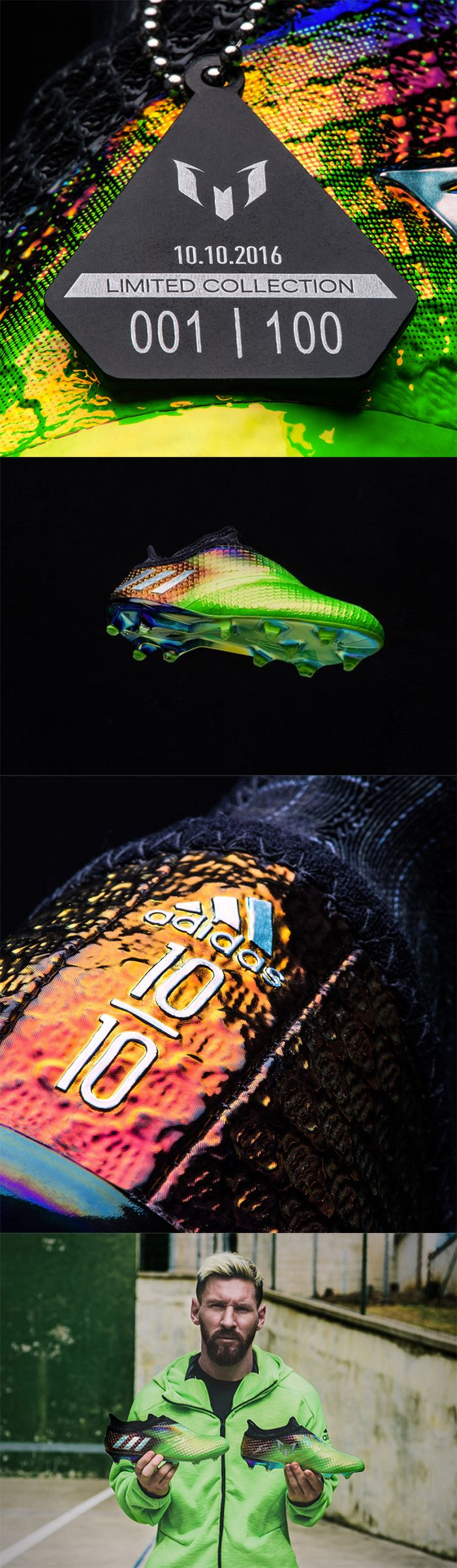 ADIDAS REVEAL LIMITED EDITION MESSI 10/10 CLEATS  adidas is celebrating the best #10 in the world, Lionel Messi, with a special limited edition release of the Messi 10/10 cleats on Monday, October 10.  The cleats are a collector's item with only 100 pairs made and all of them in size 8.5, Messi's shoe size, and retail for $400.00.