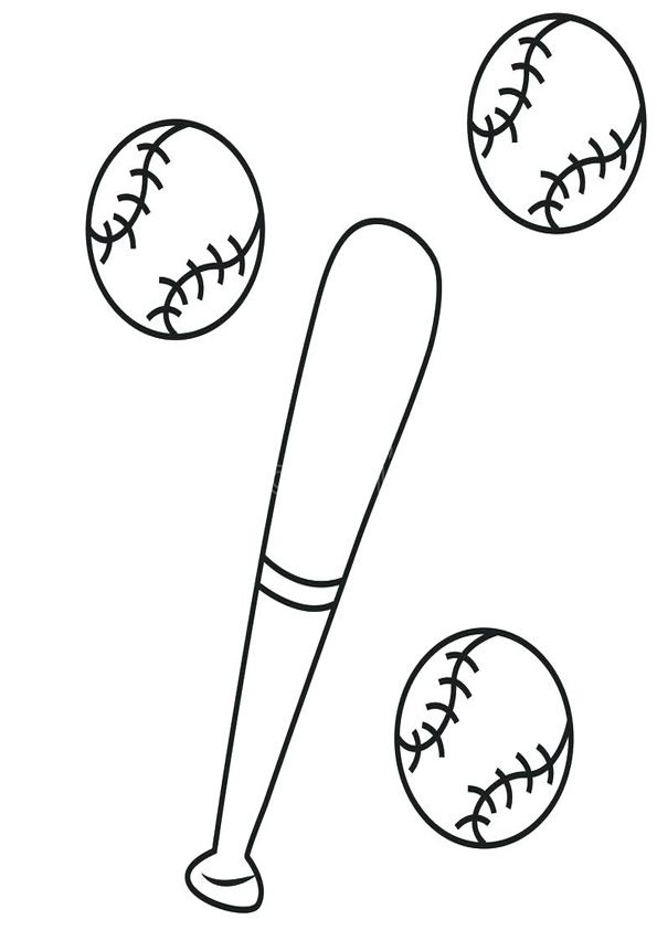 Base Ball And Bat Coloring Page For Kids In 2020 Baseball Coloring Pages Bat Coloring Pages Coloring Pages