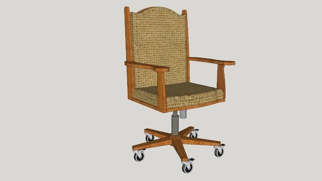 Large preview of 3D Model of Executive Wooden Office Chair