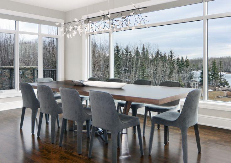 Contemporary Lakehouse Dining Room by Johnson & Associates Interior Design