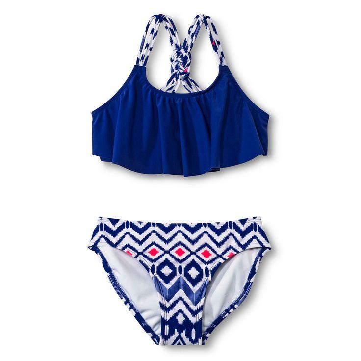 Girls' 2-Piece Flounce Top and Aztec Print Bottom Bikini Set