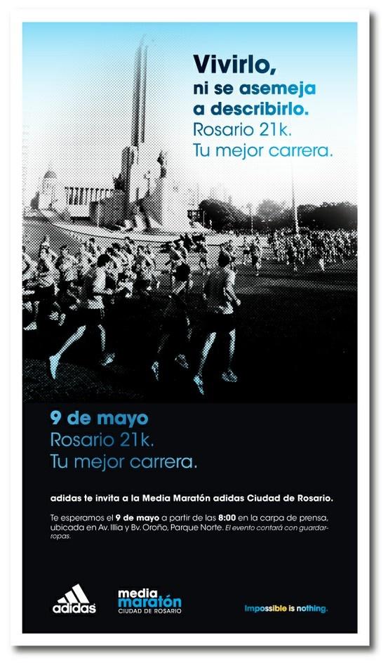 Publicidad Media Maratón Rosario, Adidas. Para 5 Yardas.
