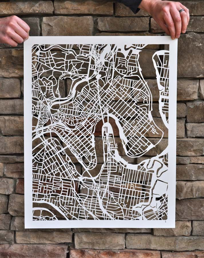brisbane mapcut. $900.00, via Etsy.