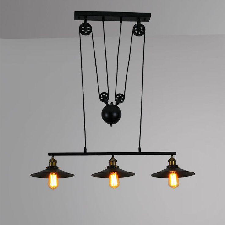 Retro Hanging Ceiling Light Vintage Industrial Pendant Retractable Pulley Lamp
