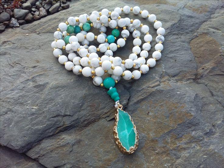 White Howlite and Turquiose 108 Mala Bead Necklace,Mala beads 108,Beeaded necklace,Healing jewelry,Malas,Prayer beads