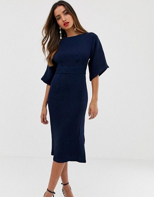 closet london ribbed pencil dress with tie belt in navy asos