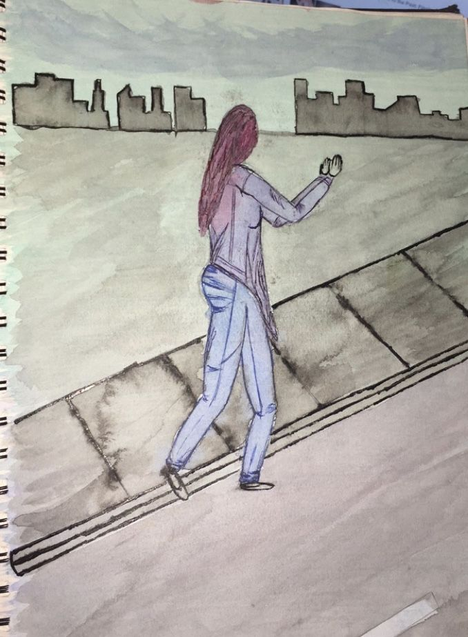 """""""City Bound"""". Water colour and ink. 2016"""