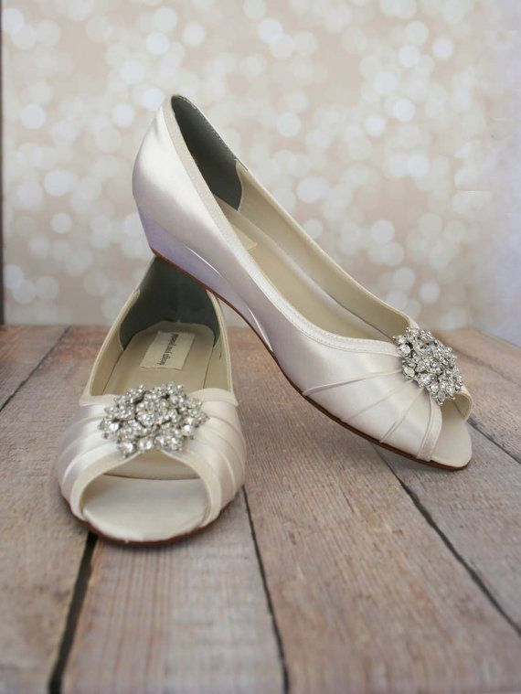 Wedding Shoes Ivory Peeptoe Wedge Wedding by EllieWrenWeddingShoe