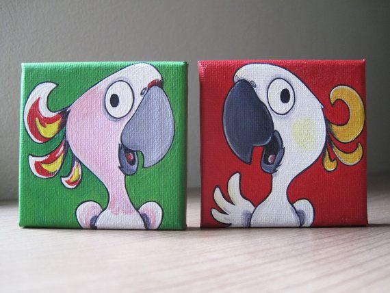 2 Originale auf Leinwand, Gelbhaubenkakadu & Inkakakadu Sittich, Papagei, Vogel-Karikatur