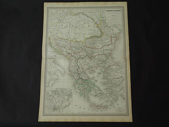 BALKANS old map LARGE 1856 original antique map of Ottoman