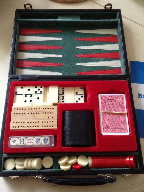 Travelling Games Compendium in smart Black Case. Backgammon/Dominoes/Liar Dice and Cards.