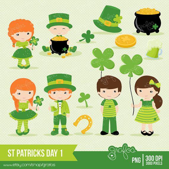 ST PATRICKS DAY 1  Digital Clipart ,  Patricks Day Clipart, Leprechauns Clipart  / Instant Download