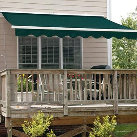 Aleko Retractable Awning, X X Solid Green Patio Awning