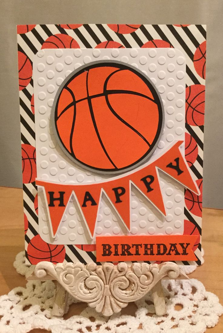 Basketball Birthday Card / Made with The Paper Studio Medium Polka Dots Embossing Folder and Life's A Party & The First Few Years Cricut Cartridges / Handcrafted By Cindy Babich (Cindyswishestogive 2016)