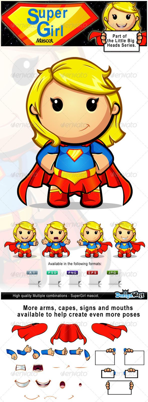 Larger preview vector clip art of a happy yellow coffee cup character - Supergirl Mascot Character
