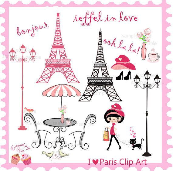 I love Paris Clip Art  Set by 1EverythingNice on Etsy, $5.00