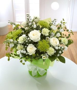 Peridot - Elegant white Roses with green Chrysanthemums.