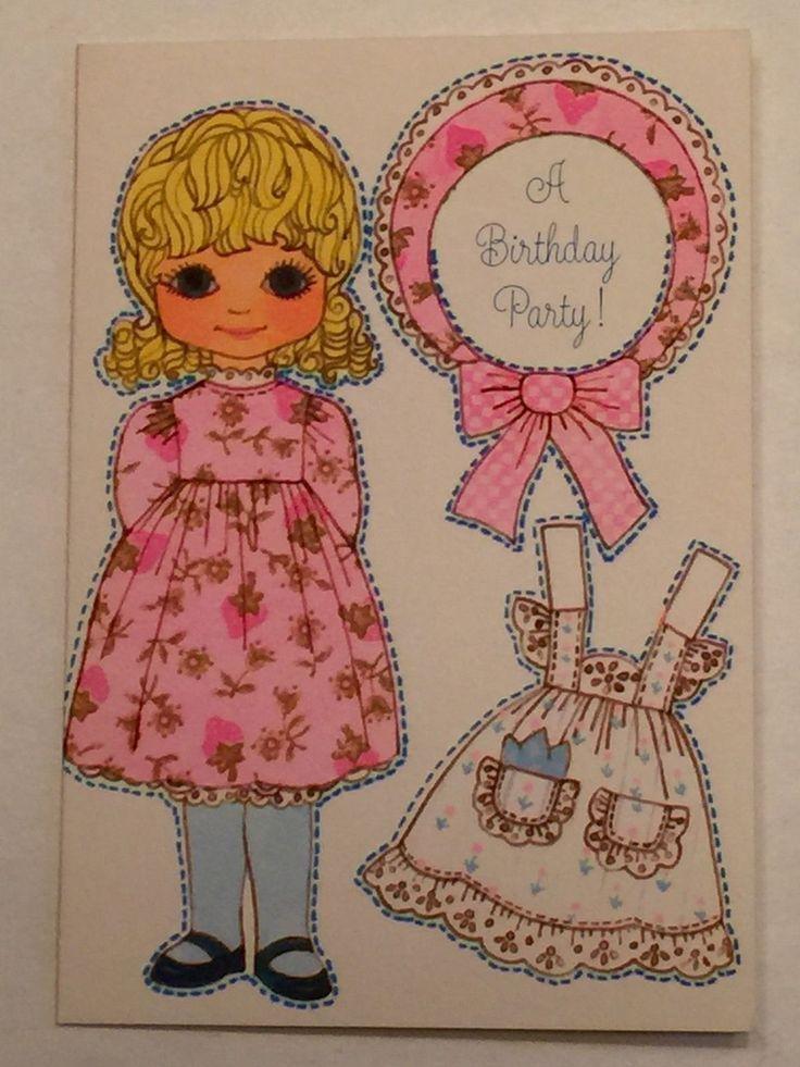 "Vintage Hallmark Greeting Card Paper Doll Party Invitation ""Rebecca Sue"" Unused | eBay"