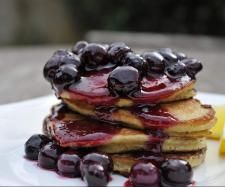 Paleo Banana & Coconut Pancakes with Blueberry Compote by foodieforever