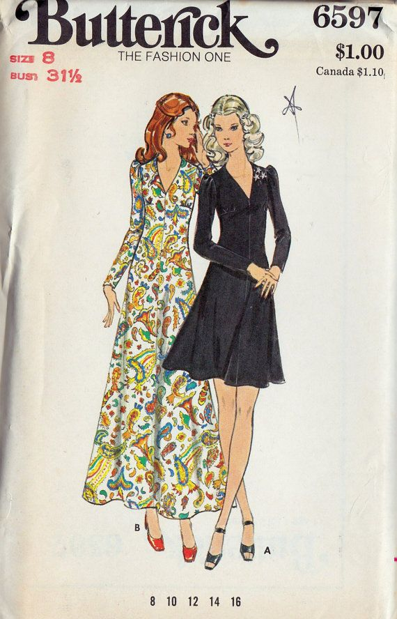 1970s Misses Princess A Line Dress Misses Vintage Sewing Pattern, Butterick 6597 Bust 31.5 uncut