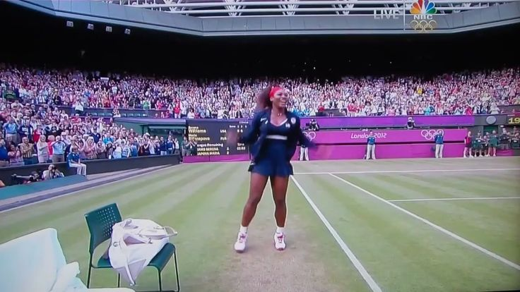 Serena Williams dominated Maria Sharapova and won her first singles gold medal at the London Olympics, completing a career Golden Slam — the second ever since Steffi Graf in 1988. Williams celebrated by doing a dance move identified by the internet as the Crip Walk. It has already been immortalized in GIF form.