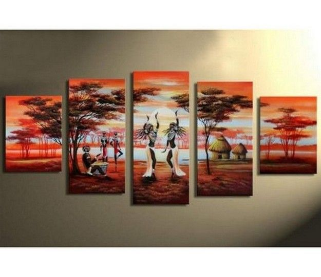 Large Canvas Art Abstract African Dancing Girl Painting Living RoomsLiving Room