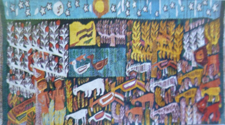 "Myriam Hermina, Adam and Eve, Ramses Wissa Wassef Tapestry, Egypt Weaving. Image from ""Das Land am Nil"" 1979 exhibition catalog by Roemer- und Pelizaeus-Museum, Hildesheim, Germany.  Arne Eggebrecht, Director."
