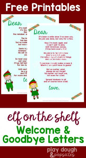 Free Printable Elf on the Shelf Welcome & Goodbye Letters + More Elf On The Shelf Printables