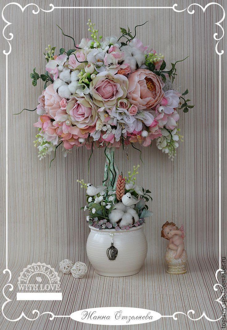 """Купить Топиарий """"Нежность рассвета"""", дерево счастья - бледно-розовый, топиарий, топиарий дерево счастья"""