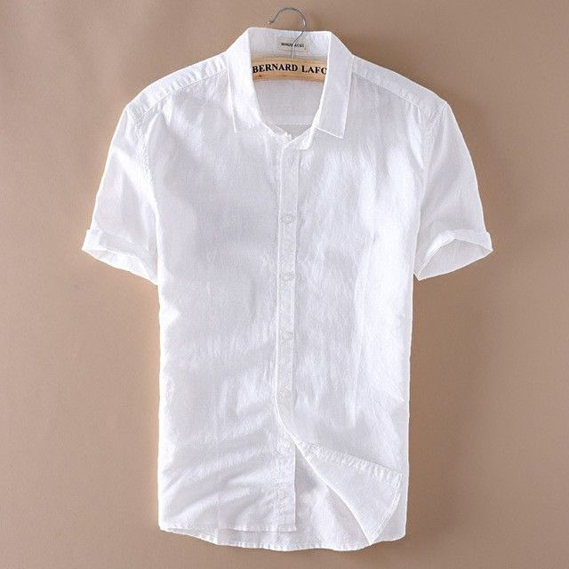 Summer Men 4XL Casual Shirts Solid White Short Sleeve Cotton Linen Dress Shirts Camisa Masculina