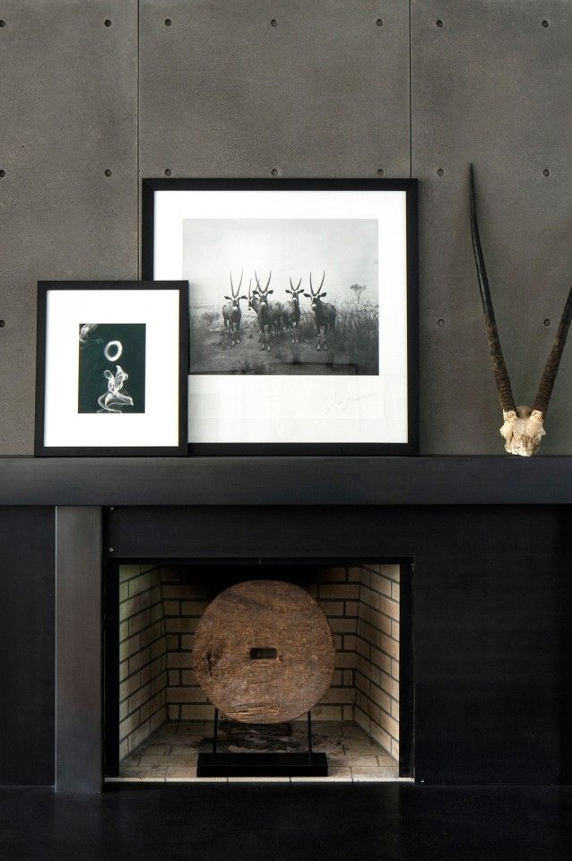 black and gray slab fireplace