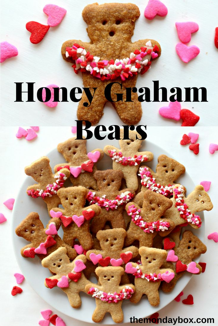 Honey Graham Bears, hold garlands of heart sprinkles between their outstretched paws, to show how much love they can hold. For Valentine's Day or every day!| themondaybox.com #valentinestreats #romanticdesserts #valentinesdaydessert #valentinesweets