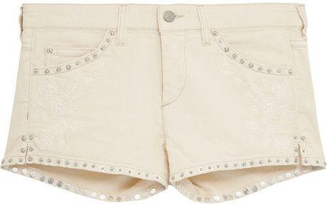 Isabel Marant Blanco Garbo tachonado bordado Denim Shorts