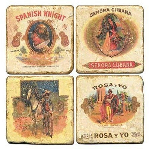 Vintage Cuban Cigar Brands Tumbled Marble Coaster, Set of 4