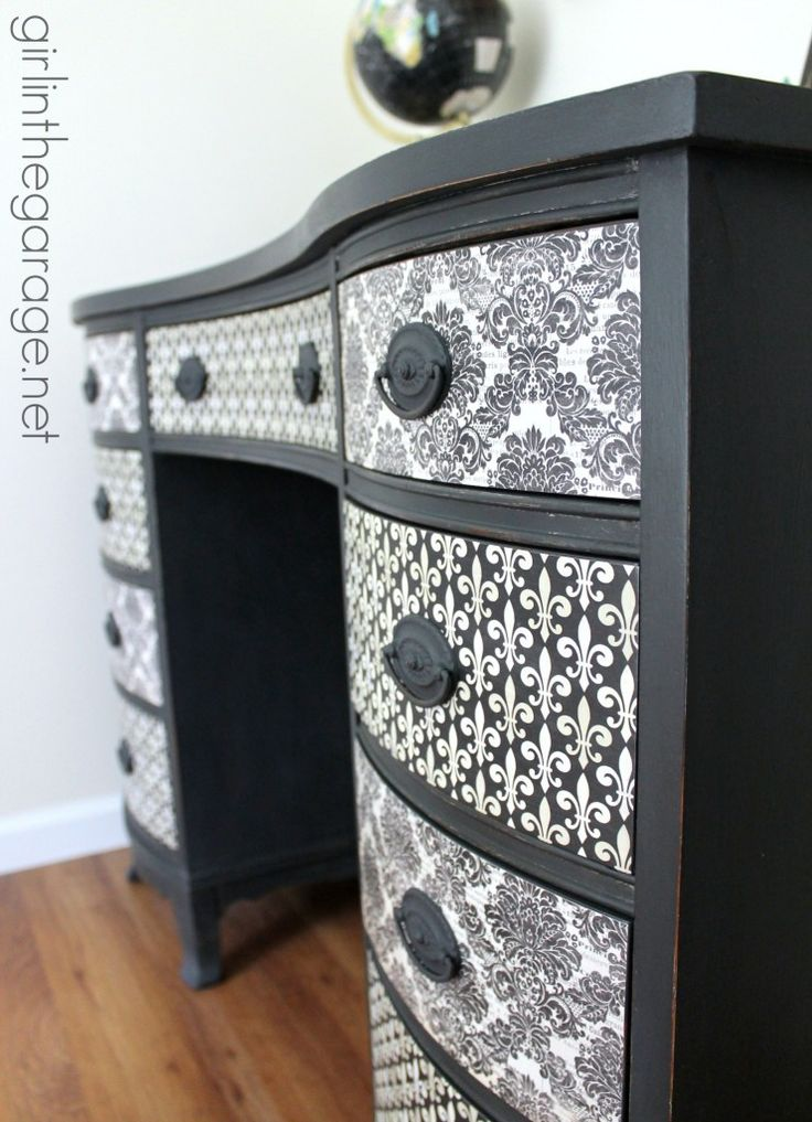 DIY:  How To Decoupage Furniture - this piece was transformed using chalk paint, paper and Mod Podge. The papers used are available for download on this post.  Via Girl in the Garage