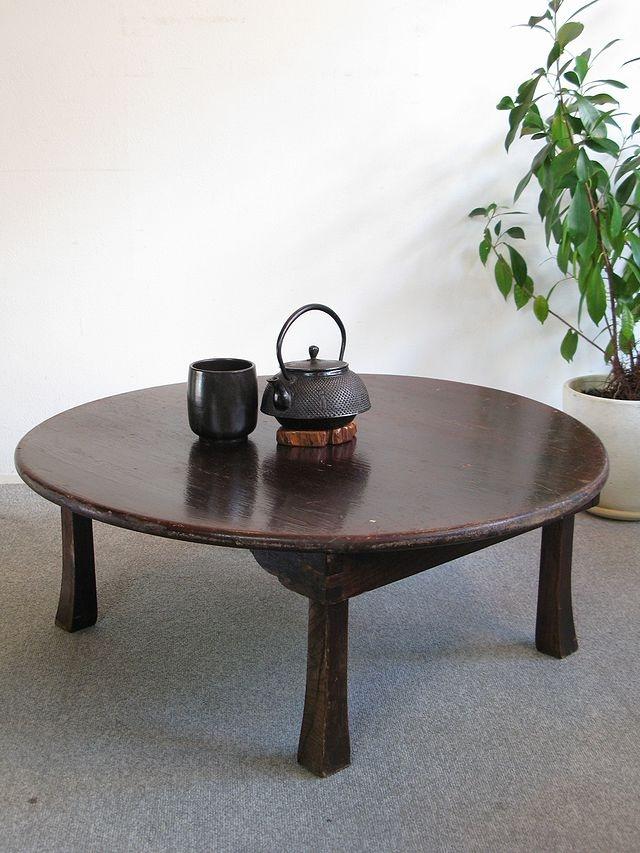 【アンティーク 古道具 JIKOH】アンティーク レトロ 小振りで丸い木製ちゃぶ台 丸ちゃぶ台 座卓 折りたたみテーブル【楽天市場】ちゃぶ台といえば頑固親父のイメージです。。。