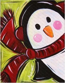 Easy Penguin Canvas Painting
