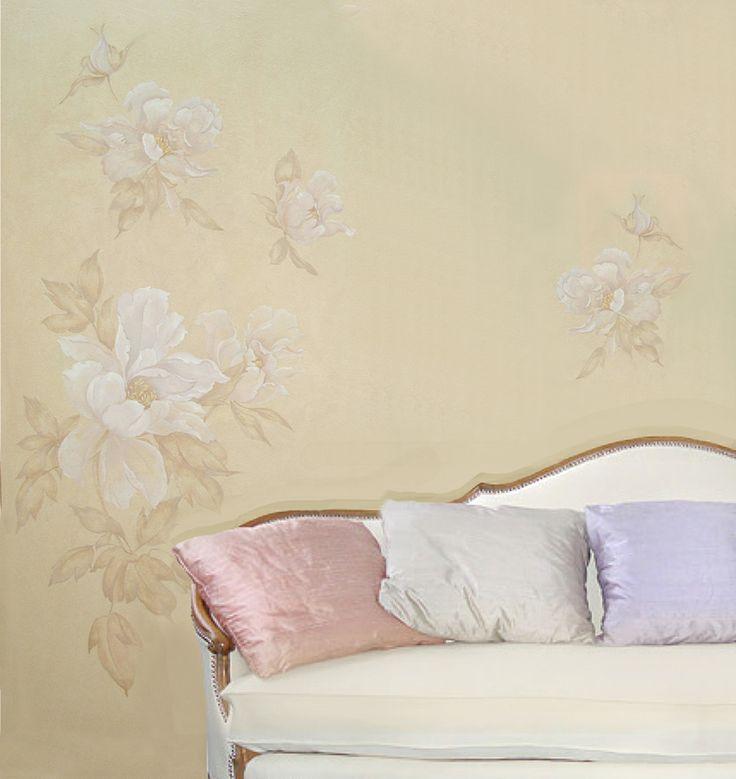 роспись Китайский пион, гостиная комната