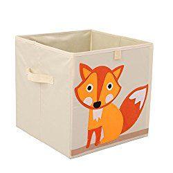 Toy Storage Box Cube Origanizer for Kids Foldable Cloth Storage Bins Basket By Singles Day,13 inch (Fox)